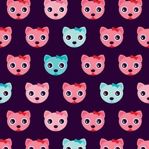 Violet sweet kitten pink cat illustration pattern