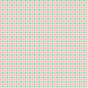 Tiny Plaid Pink With Green