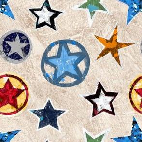 Vintage Super Stars on Tan / Taupe Superhero
