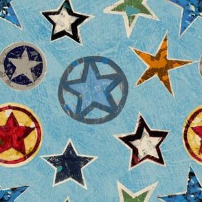 Vintage Super Stars on Blue Superhero