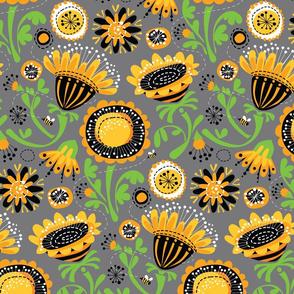 Fun Floral_Yellow Gray Black_Main_12inch