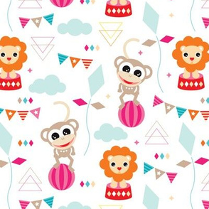 Colorful geometric circus animals lion and monkey party