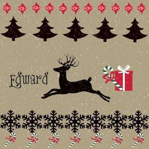 Rain deer Candy Cane snow-charcoal-personalized