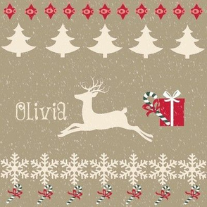 Rain deer Candy Cane snow -cream puff-personalized OLIVIA