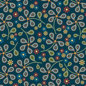 Paisley Floral Print, Blue