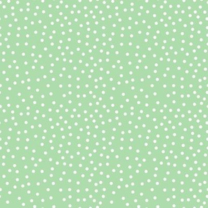 Small Dots White on Lt Green