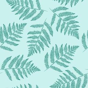 ferns in spruce blue - counterchanged