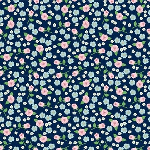 Small Floral on Navy