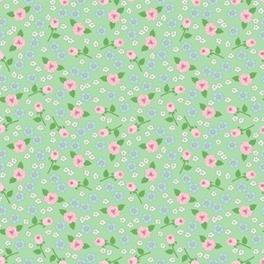 Small Floral on Green