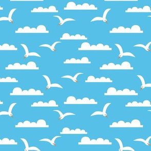 Seagulls in the Sky - Blue
