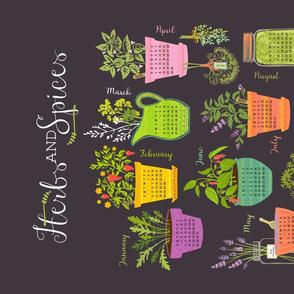 Herbs & Spices 2018 Calendar Tea Towel