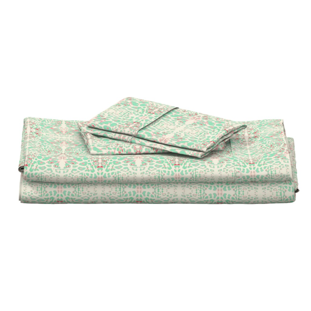 Langshan Full Bed Set featuring The Wild Side in Mint and Lipstick Pink by azureelizabethdesign