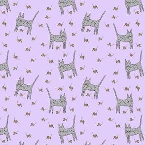 Mice Cat Purple Background