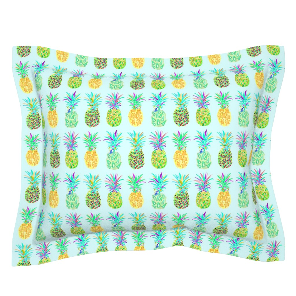 Sebright Pillow Sham featuring pineapple in blue by erinanne