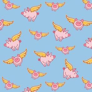 Flying pig on blue background ©Jennifer Garrett