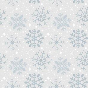 Wintery Silver Snowflakes