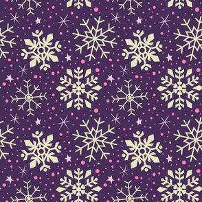 Boysenberry Purple & White Snowflakes