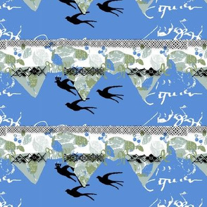 French Script Still LIfe bunting and birds
