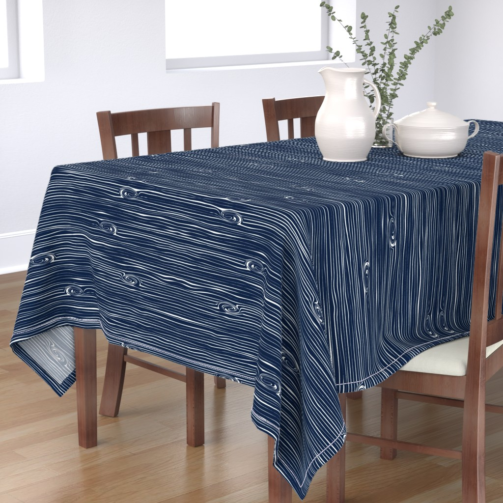 Bantam Rectangular Tablecloth featuring Woodgrain Navy // Rustic Woods Collection by littlearrowdesign