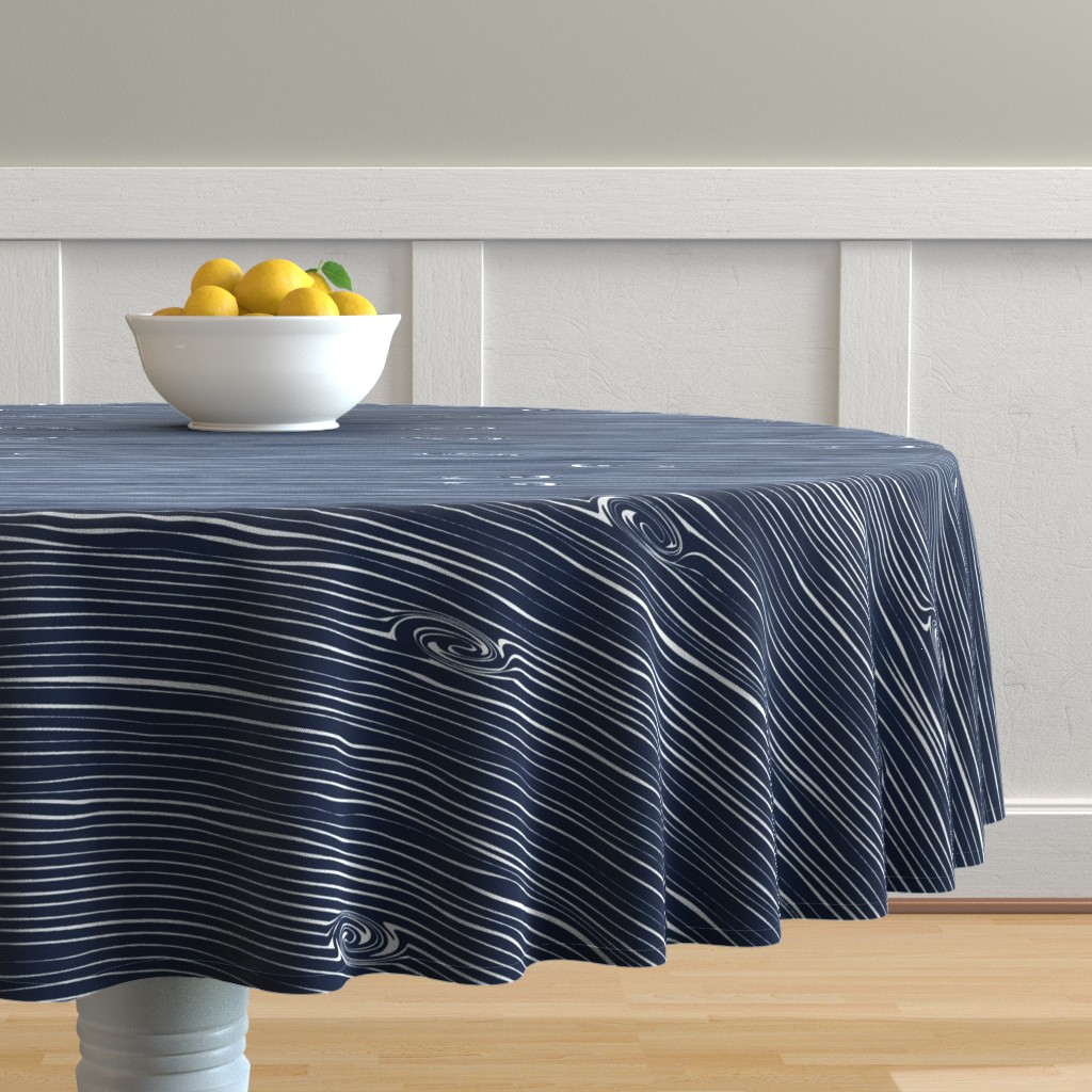 Malay Round Tablecloth featuring Woodgrain Navy // Rustic Woods Collection by littlearrowdesign
