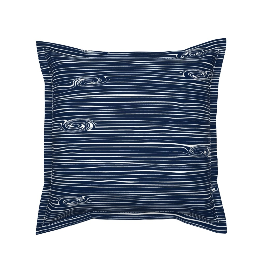 Serama Throw Pillow featuring Woodgrain Navy // Rustic Woods Collection by littlearrowdesign