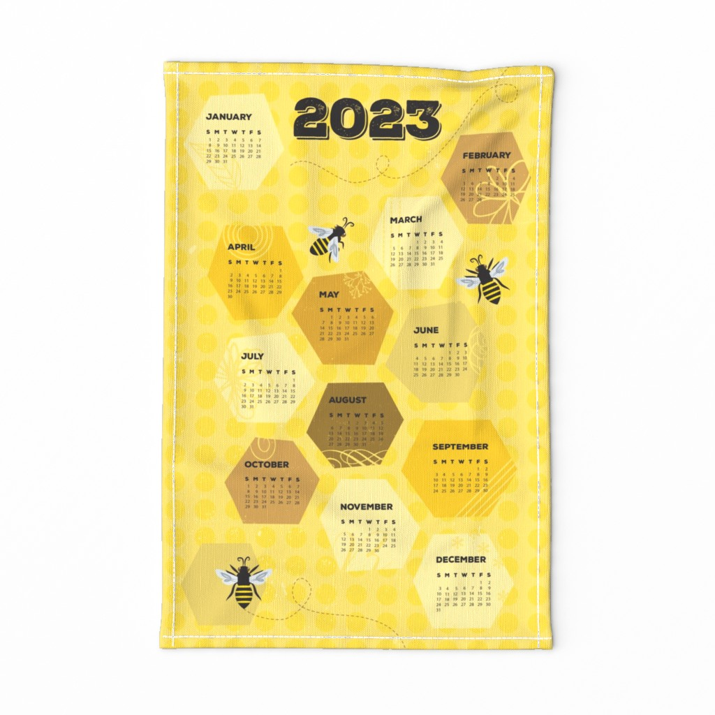 Special Edition Spoonflower Tea Towel featuring Bee Towel 2020 by lellobird