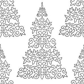 Chalk and Slate Christmas Tree ~ White and Black