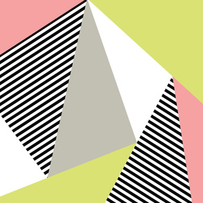 Triangles & Stripes Cheater Quilt - Acid Green & Pink