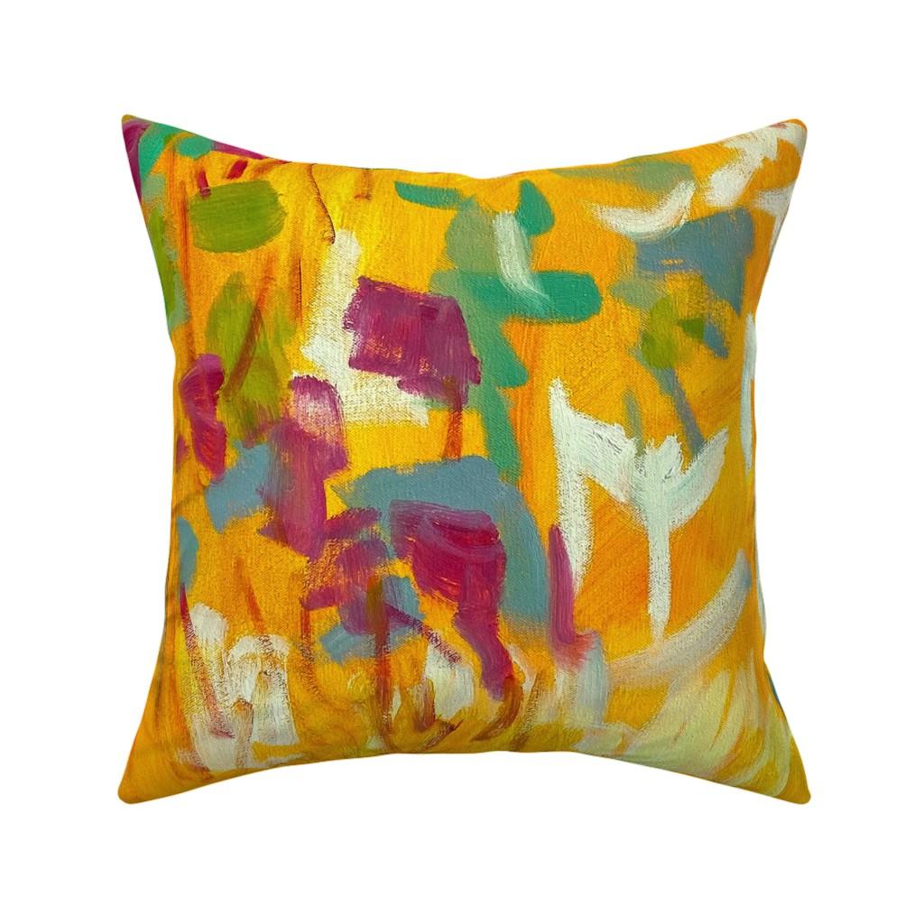 Catalan Throw Pillow featuring Wildflower Jewel Wide Strips Orange by dorothyfaganartist