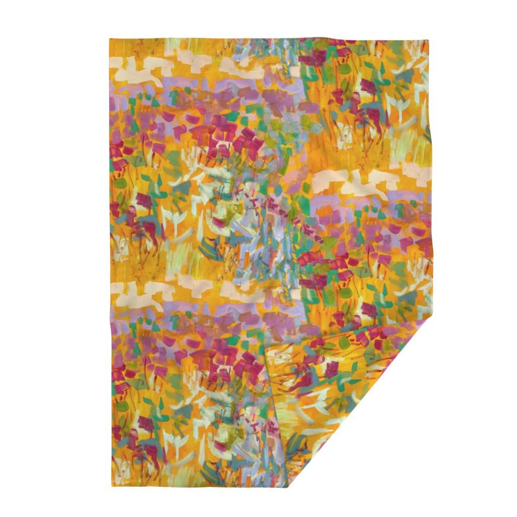 Lakenvelder Throw Blanket featuring Wildflower Jewel Wide Strips Orange by dorothyfaganartist