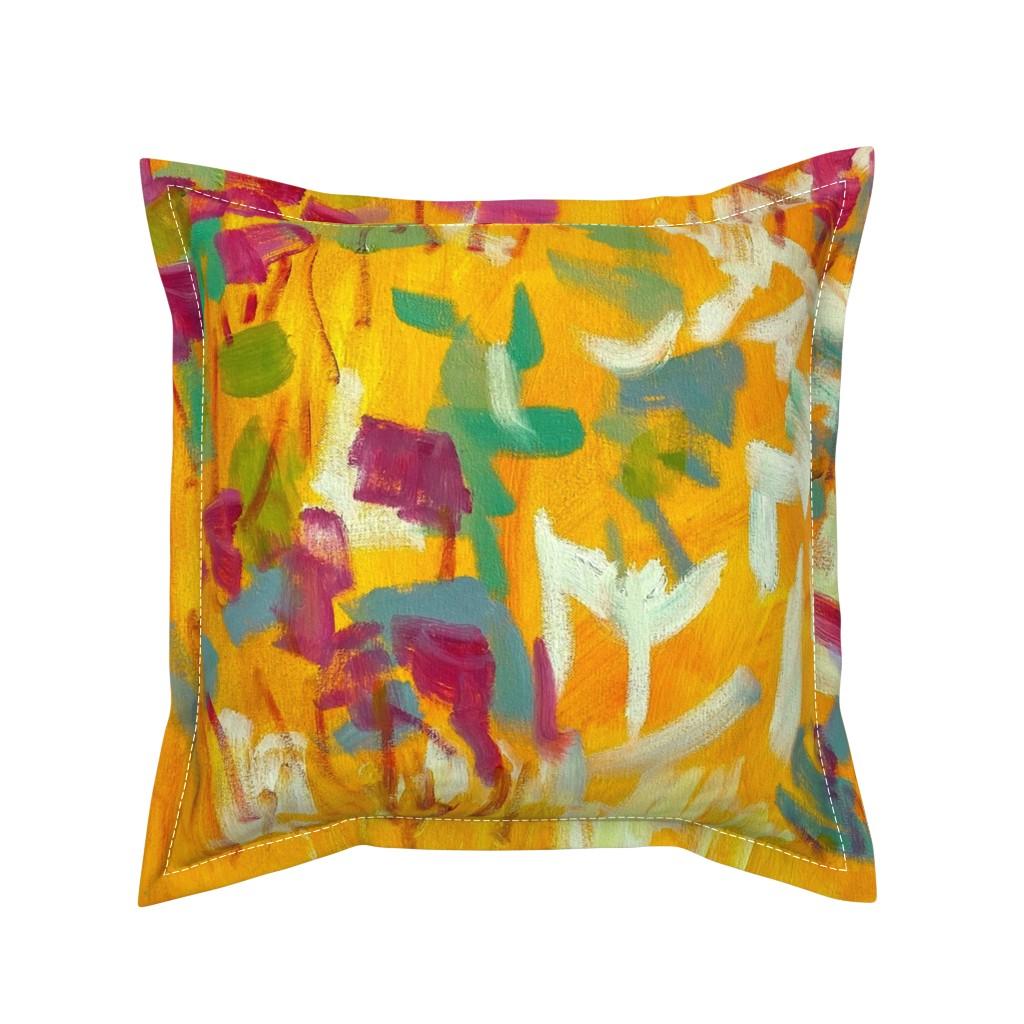 Serama Throw Pillow featuring Wildflower Jewel Wide Strips Orange by dorothyfaganartist