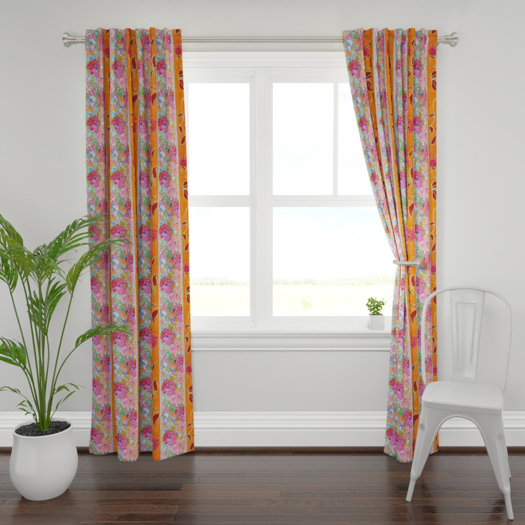 Plymouth Curtain Panel featuring Wildflower Jewel Wide Strips Orange by dorothyfaganartist