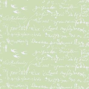 Shabby Chic French script, celery green