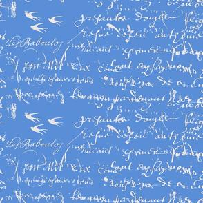 Cornflower Blue background with white French Script
