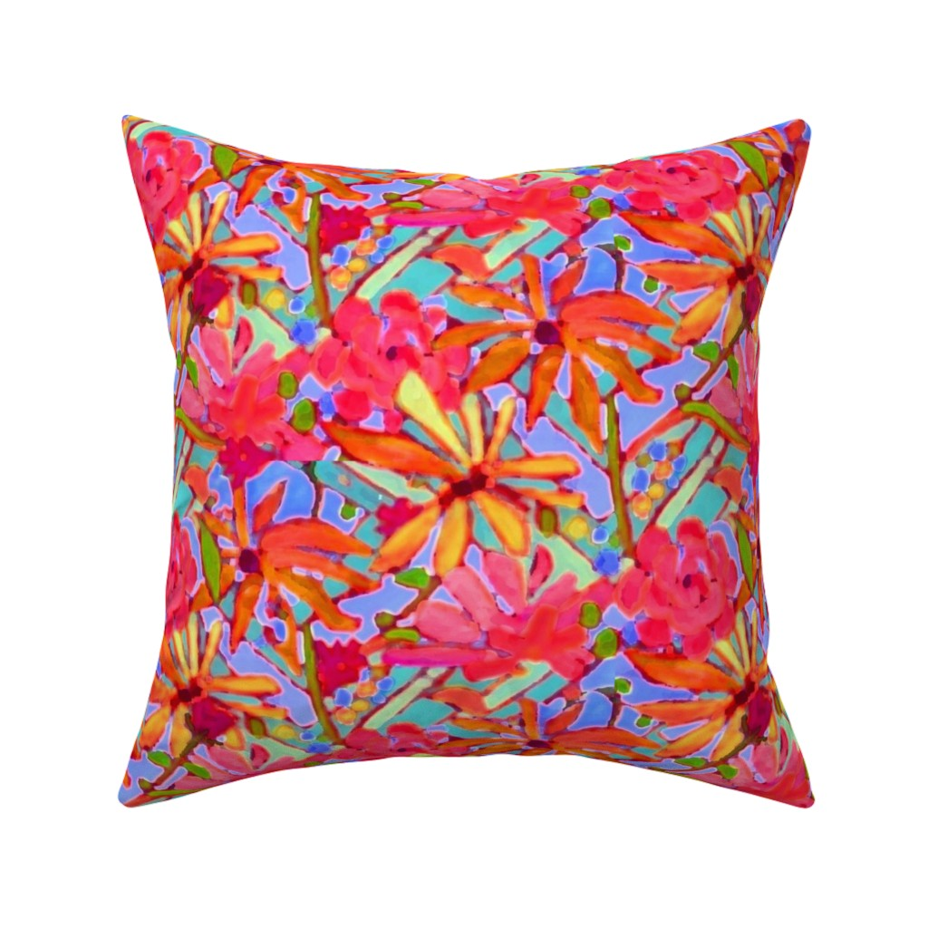 Catalan Throw Pillow featuring Wildflower Pastels  by dorothyfaganartist