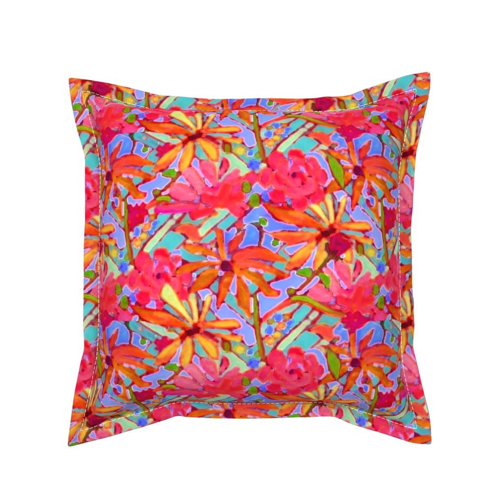 Serama Throw Pillow featuring Wildflower Pastels  by dorothyfaganartist