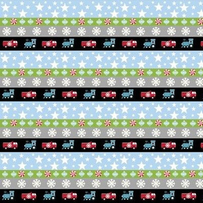 Holiday Stripes SMALL47- truck and trains blue