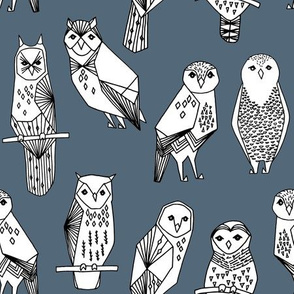 geo owls // payne's gray owls cute birds hand-drawn illustration by Andrea Lauren
