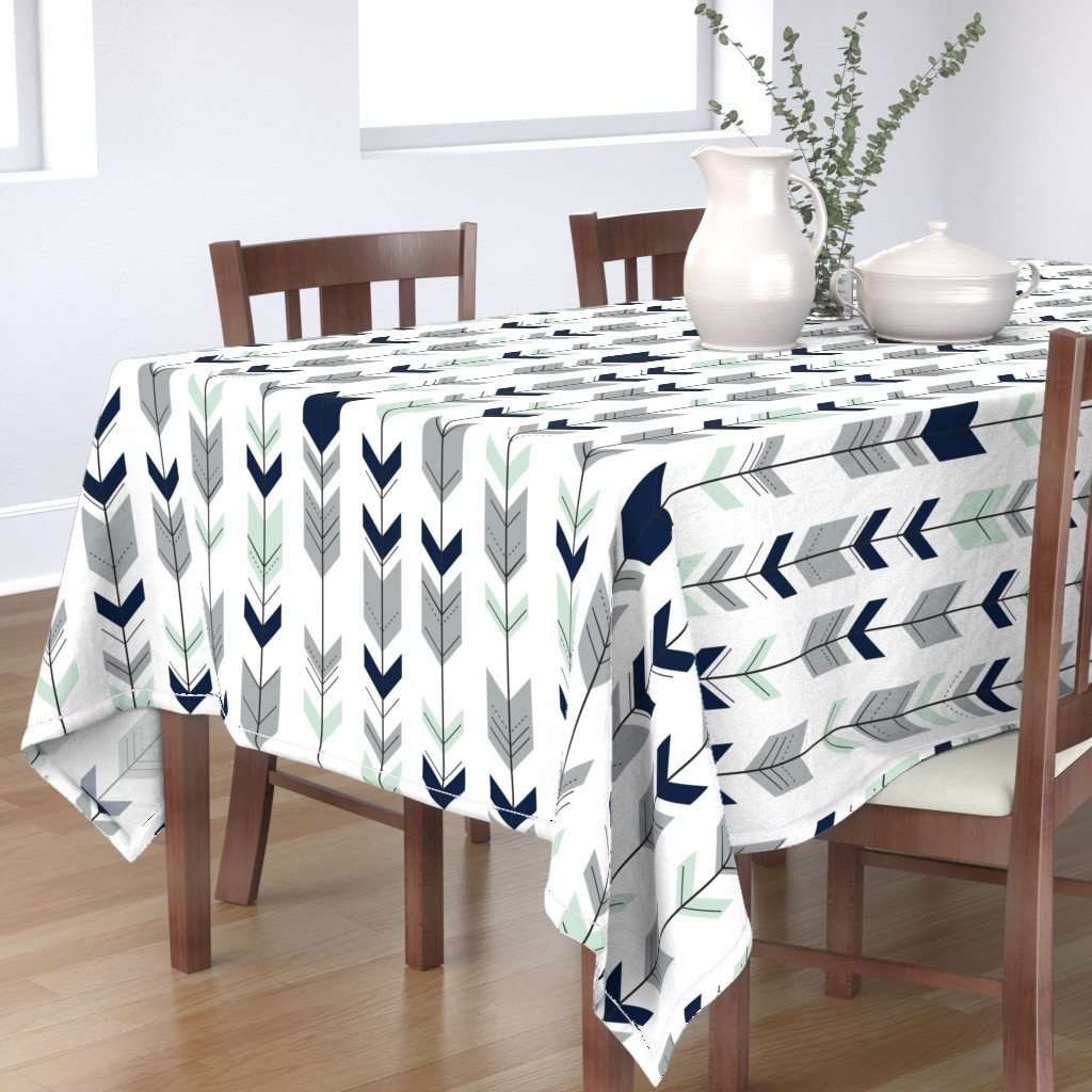 Bantam Rectangular Tablecloth featuring Fletching arrows // Northern Lights (white)  by littlearrowdesign