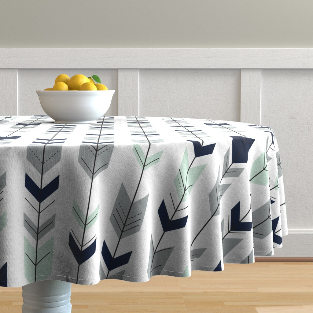 Malay Round Tablecloth featuring Fletching arrows // Northern Lights (white)  by littlearrowdesign