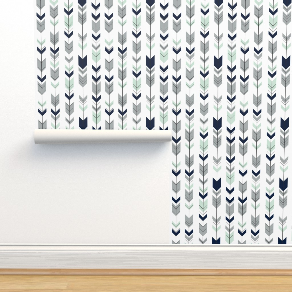 Isobar Durable Wallpaper featuring Fletching arrows // Northern Lights (white)  by littlearrowdesign