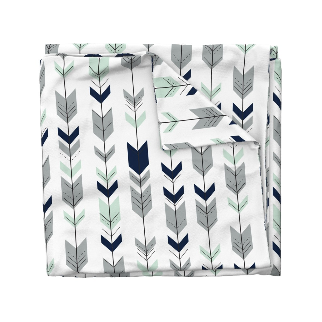 Wyandotte Duvet Cover featuring Fletching arrows // Northern Lights (white)  by littlearrowdesign