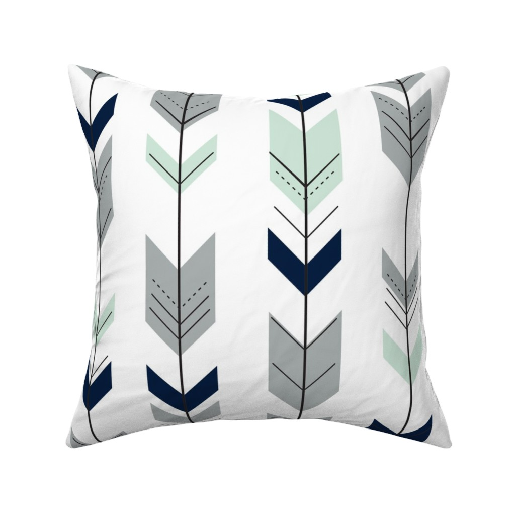 Catalan Throw Pillow featuring Fletching arrows // Northern Lights (white)  by littlearrowdesign