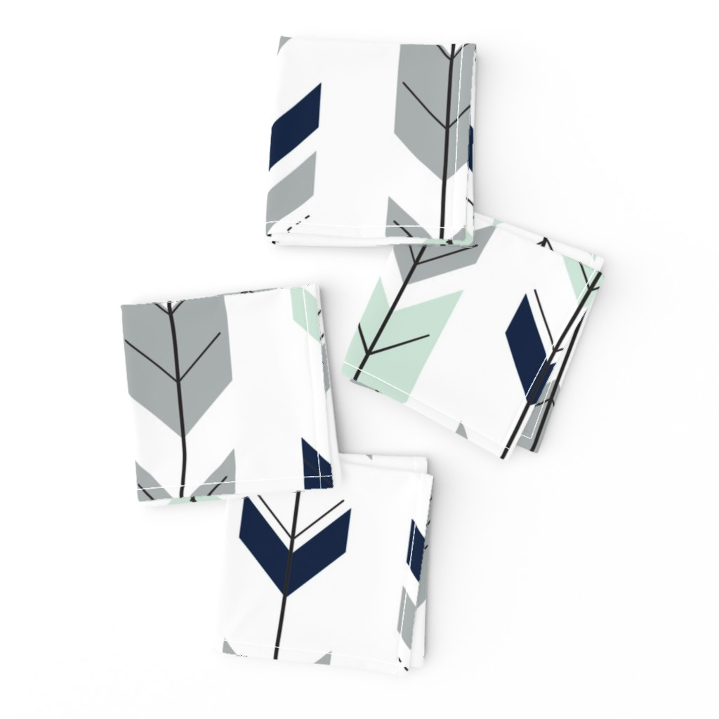 Frizzle Cocktail Napkins featuring Fletching arrows // Northern Lights (white)  by littlearrowdesign