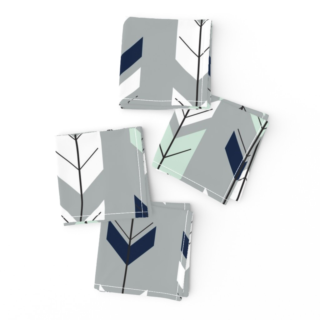 Frizzle Cocktail Napkins featuring Fletching Arrow // Northern Lights - Grey by littlearrowdesign