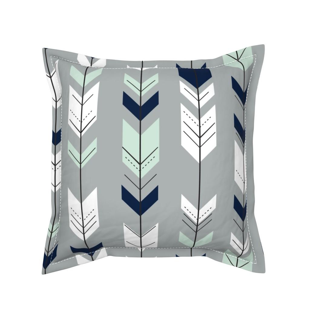 Serama Throw Pillow featuring Fletching Arrow // Northern Lights - Grey by littlearrowdesign