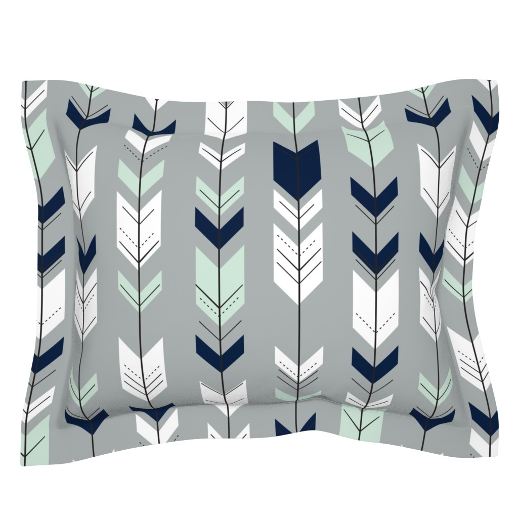 Sebright Pillow Sham featuring Fletching Arrow // Northern Lights - Grey by littlearrowdesign