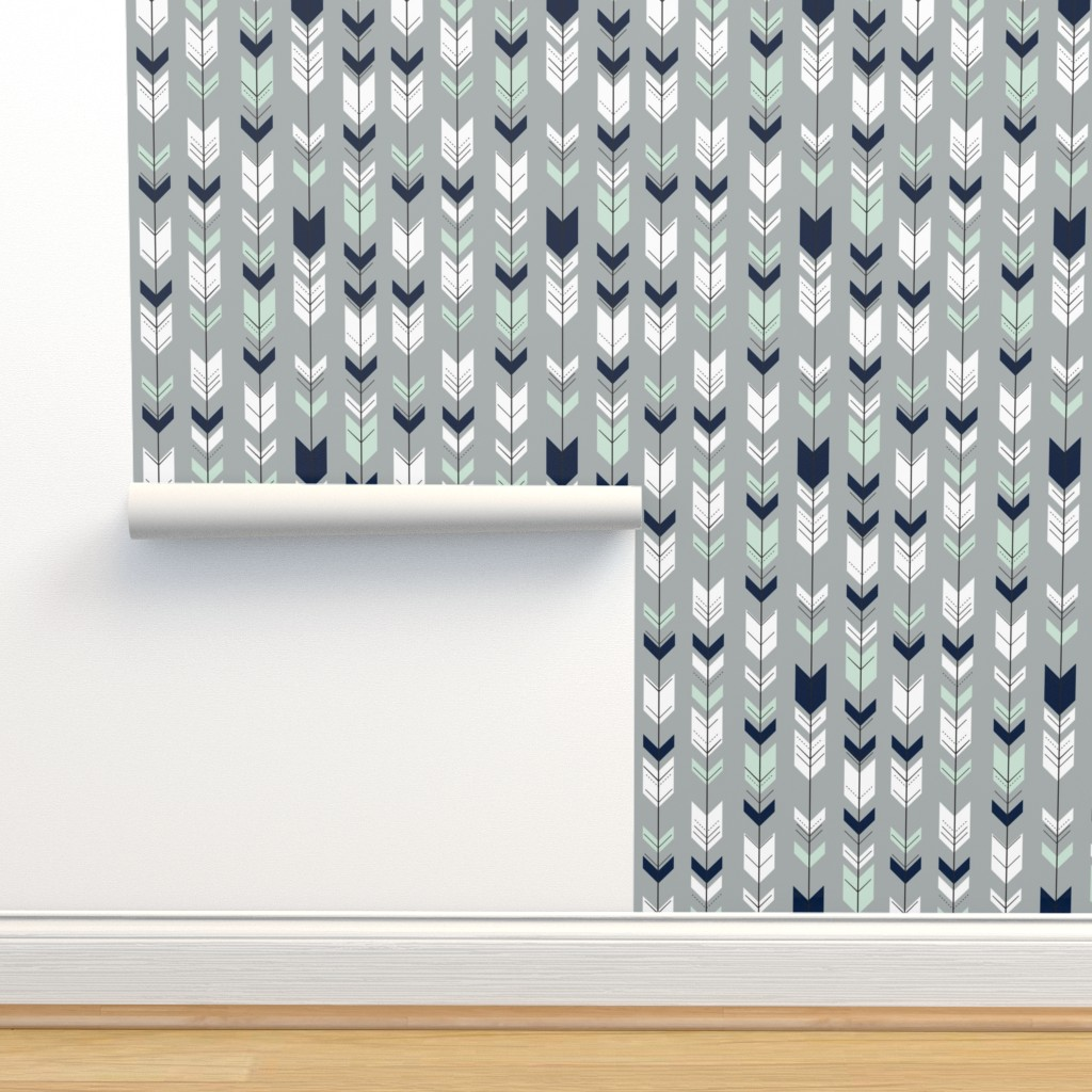 Isobar Durable Wallpaper featuring Fletching Arrow // Northern Lights - Grey by littlearrowdesign