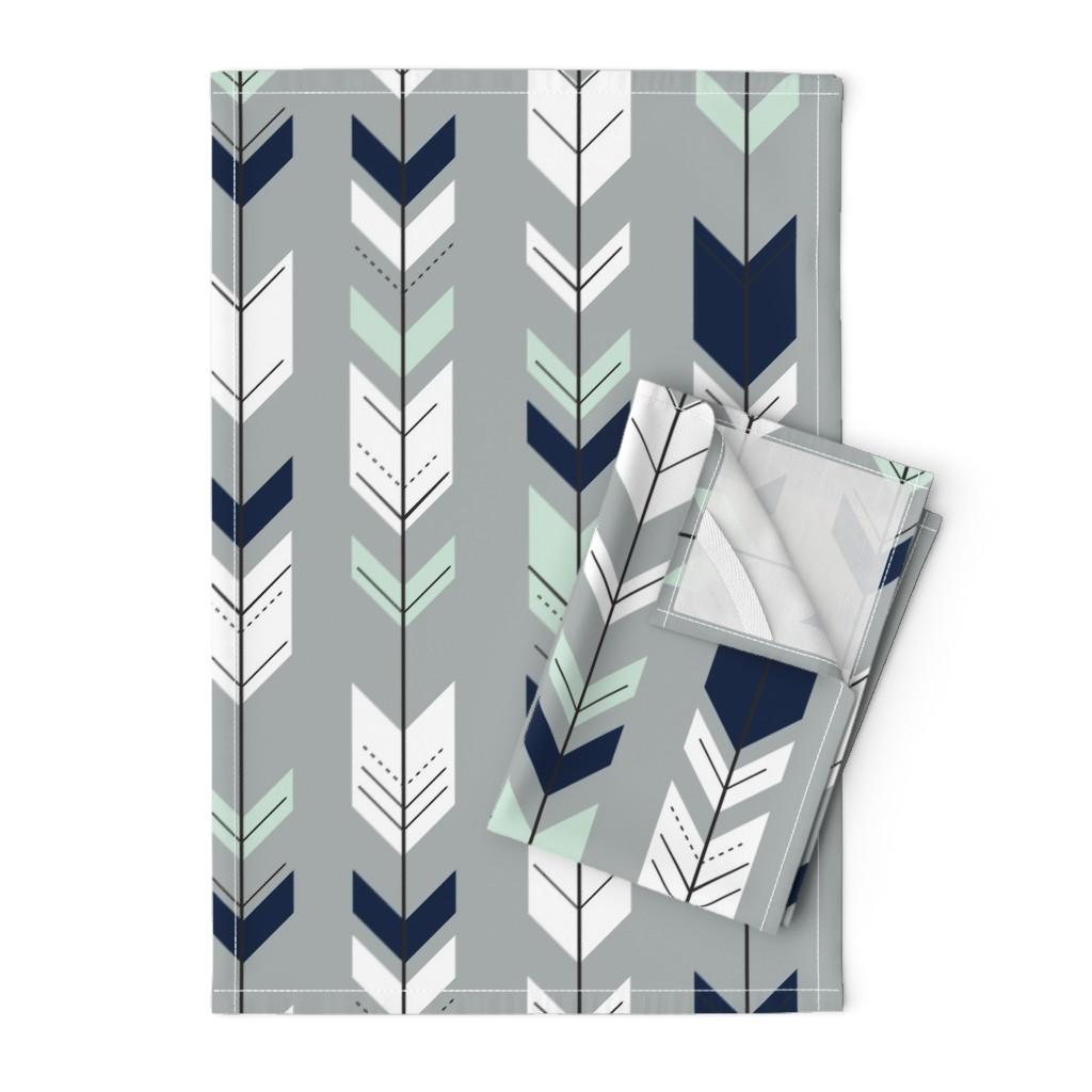 Orpington Tea Towels featuring Fletching Arrow // Northern Lights - Grey by littlearrowdesign