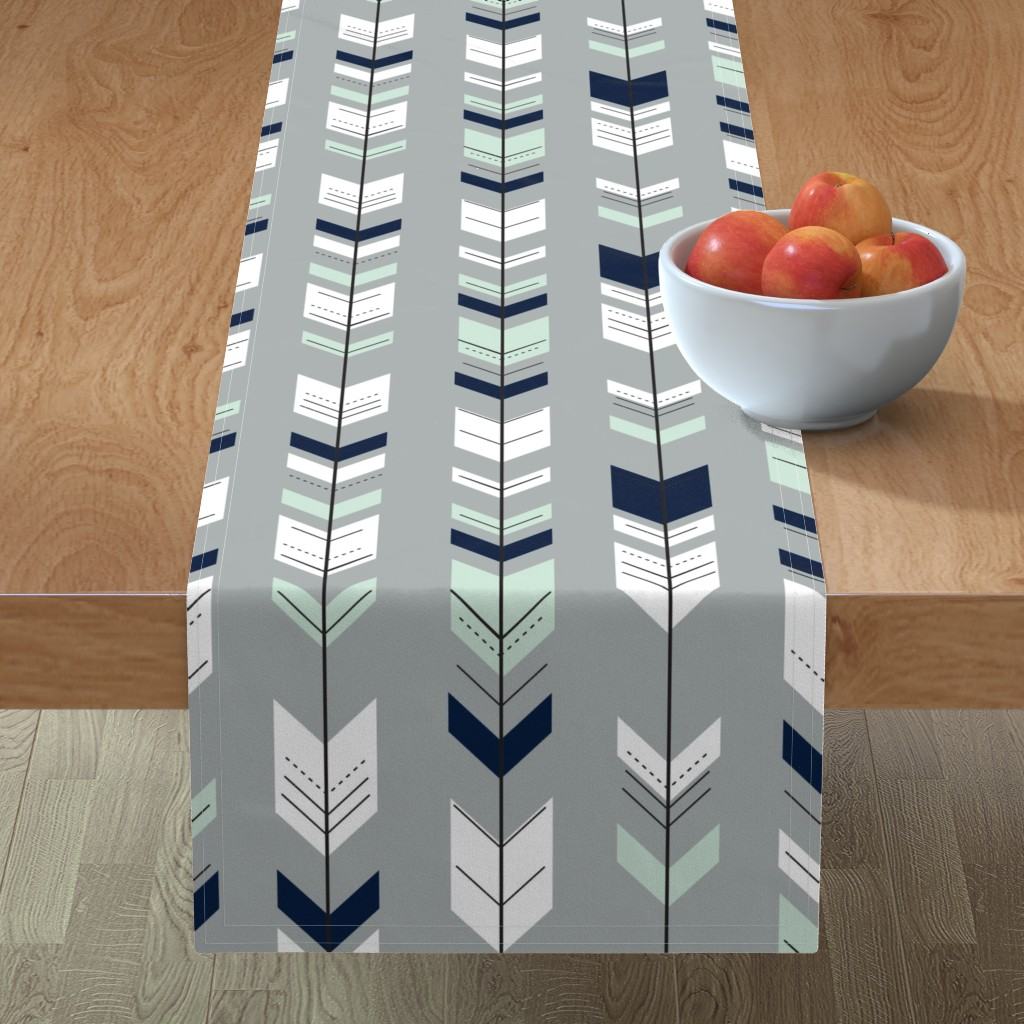 Minorca Table Runner featuring Fletching Arrow // Northern Lights - Grey by littlearrowdesign